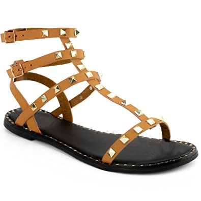816bc87ab RF ROOM OF FASHION Studded Caged Double Ankle Strap Comfort Flat Sandal -  Gladiator Style Inspired