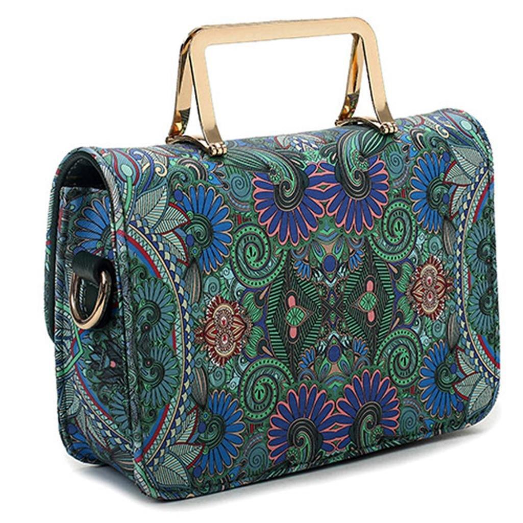 Clearance Tote Bag, SanCanSn Female Models Casual Forest Girl Totem Shoulder Bag Metal Handle Handbag Bag (1PC, Green)