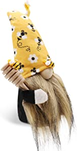 CiyvoLyeen Bumble Bee Gnome Scandinavian Tomte Nisse Dwarf Swedish Figurines Bee Elf Home Farmhouse Kitchen Decor Bee Party Gift Birthday Present Tiered Tray Decorations