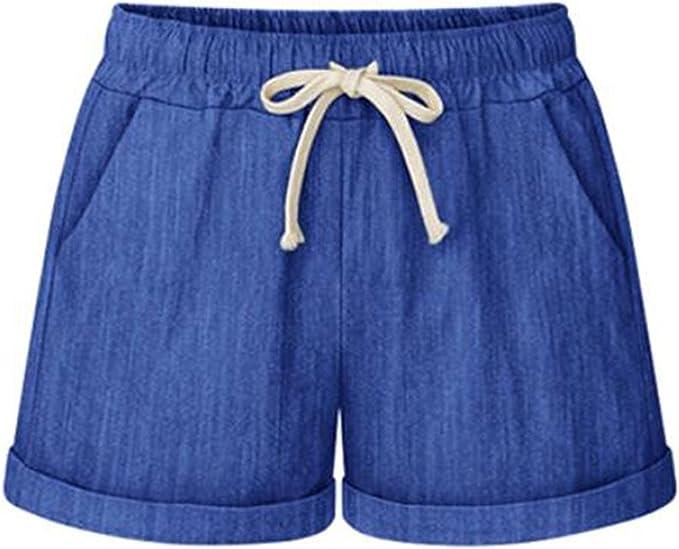 Aswinfon Kurze Hosen Damen Sommer Shorts Hohe Taille Hotpants Beach Short