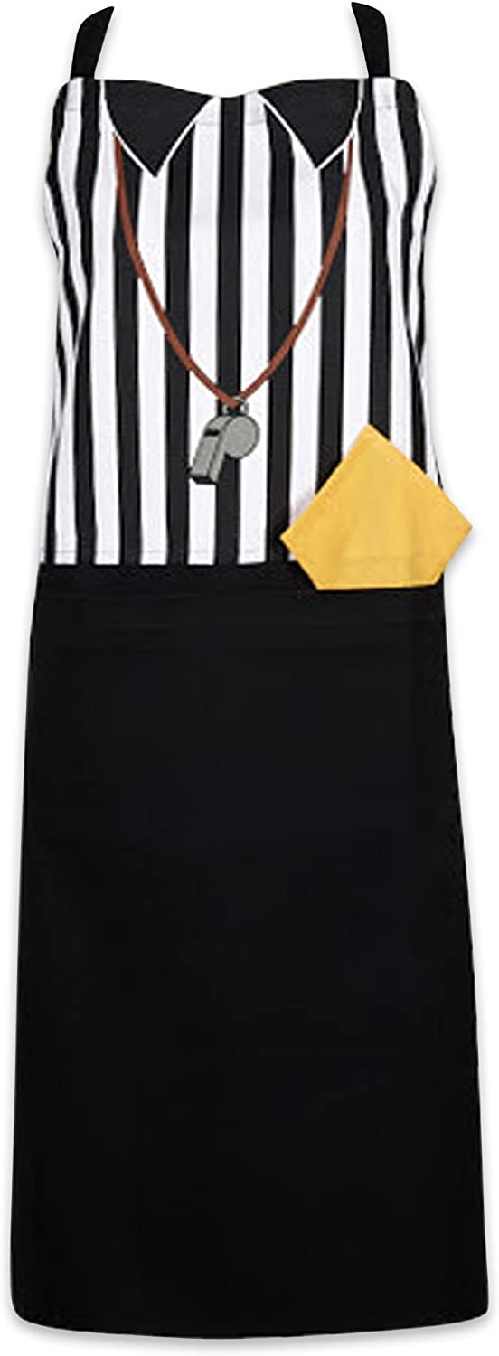 DII Cotton Adjustable Kitchen Chef Apron with Pocket and Extra Long Ties, 35 x 28, Men and Women Apron for Cooking, Baking, Crafting, Gardening, BBQ-Referee