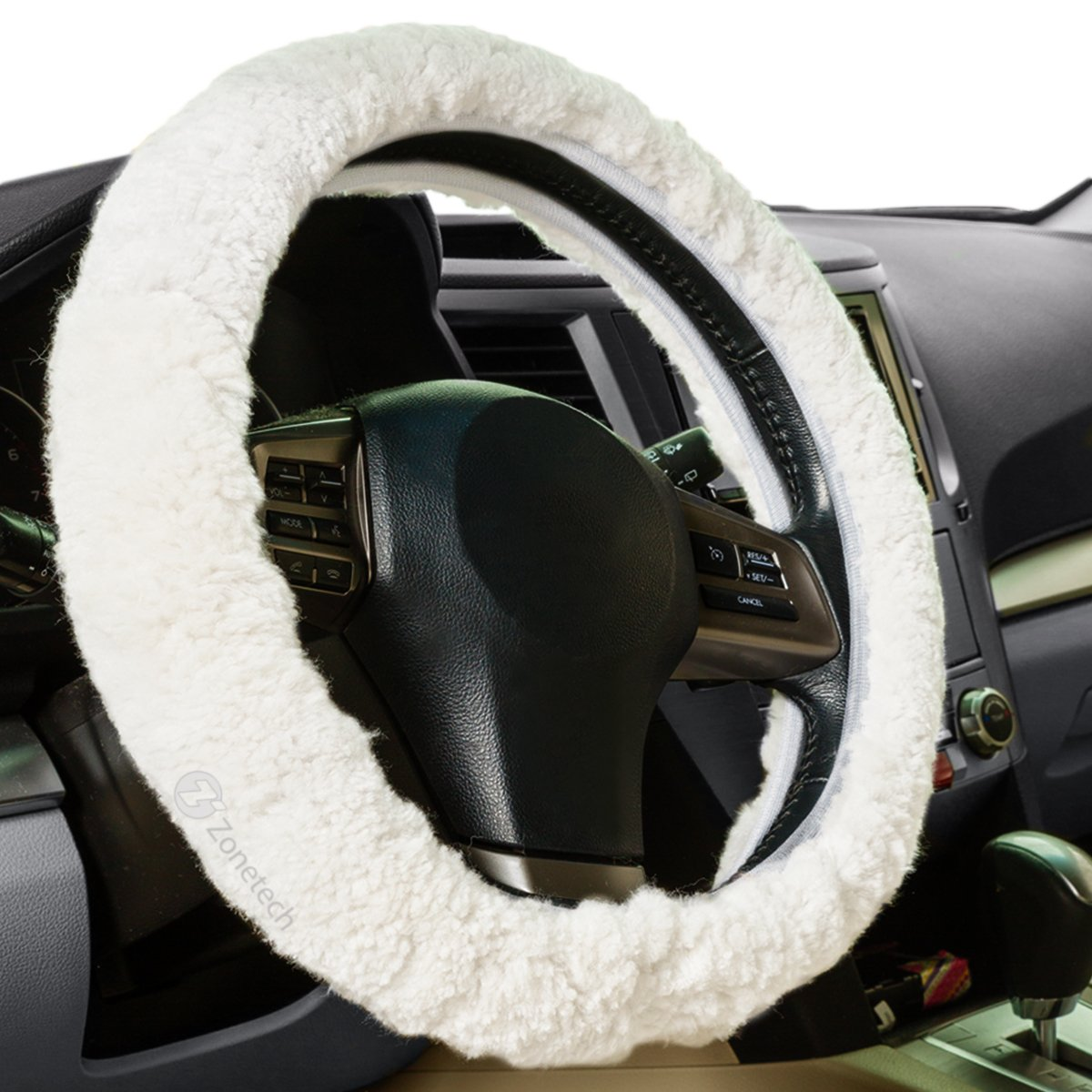 Zone Tech Luxurious Non-slip Car Decoration Steering Wheel Plush Cover – White Authentic Sheepskin Thermal Steering Wheel Cover WC0018