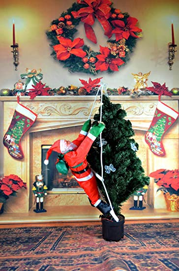 Ladder Christmas Tree.Amazon Com Santa Claus Climbing On Rope Ladder Christmas