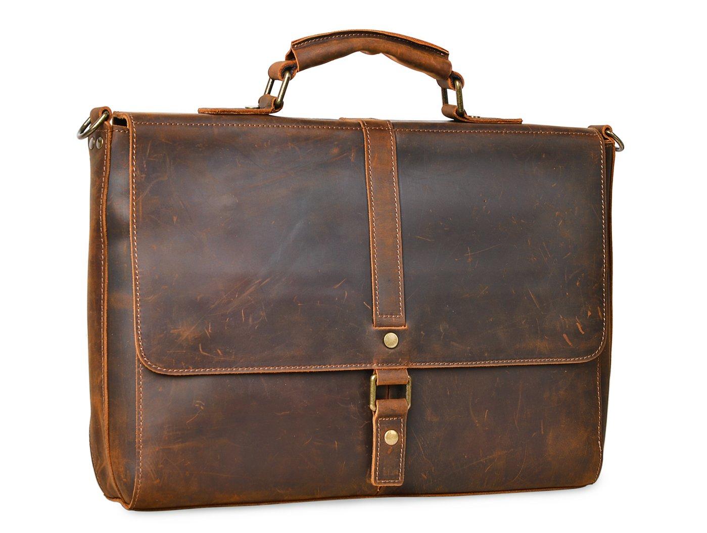 ALTOSY Vintage Genuine Leather Business Laptop Briefcase Office Shoulder Bag 8127 (Brown) by Altosy (Image #2)