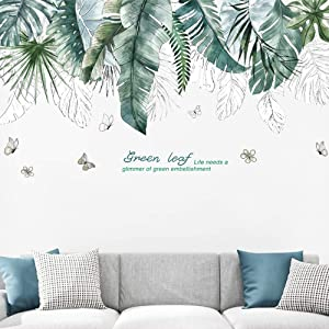 Green Tropical Leaves Wall Decal, TANOKY Nature Palm Tree Leaf Plants Wall Sticker, Mural Art for Bedroom Sofa Background PVC Decorations - Safe on Walls & Easy Peel