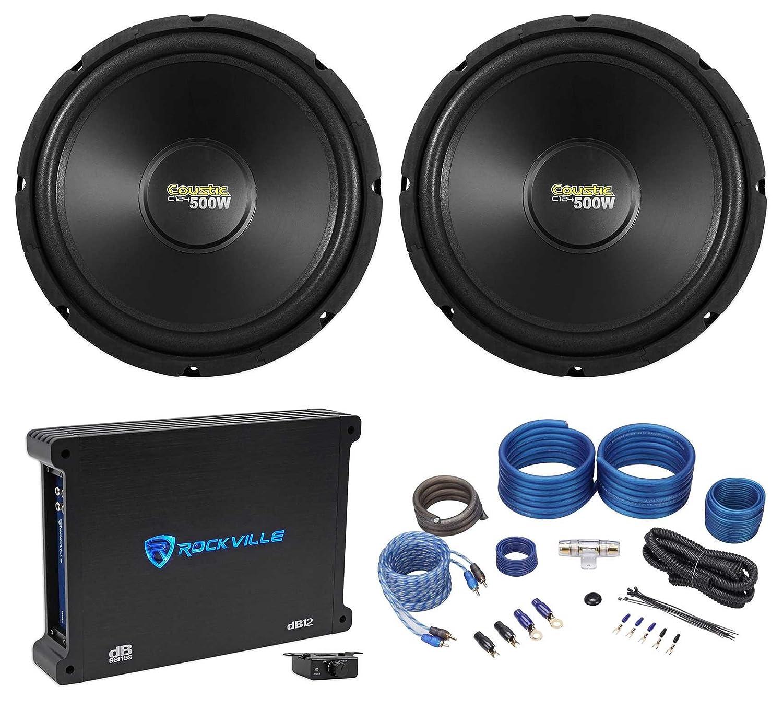 """Amazon.com: 2) Coustic By MTX C124 12"""" 1000 Watt Car Audio Subwoofers+Mono  Amplifier+Amp Kit: Car Electronics"""