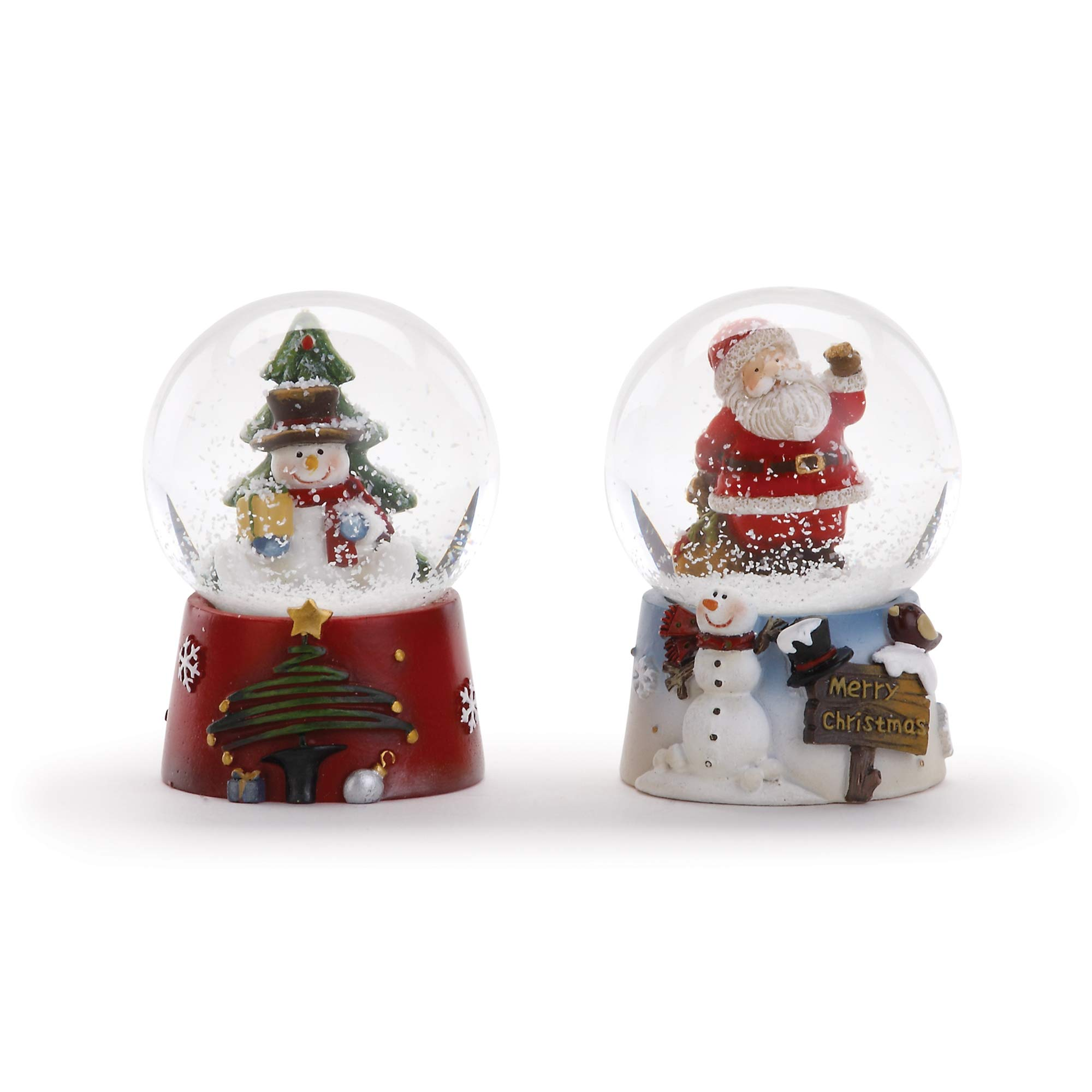Napco Imports Snowman and Santa Claus 2 Inch Mini Glass Christmas Water Globes Assorted Set of 2