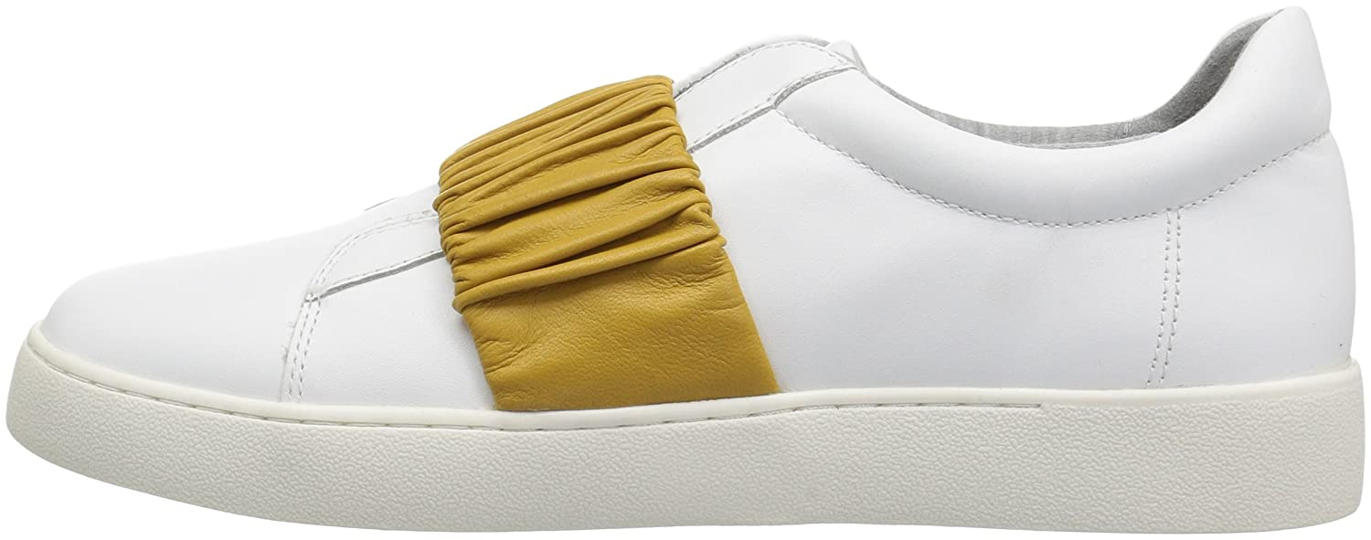 Nine West Women's Pindiviah Leather Sneaker Leather B071FTMTCN 12 B(M) US|White/Yellow Leather Sneaker 36cba0