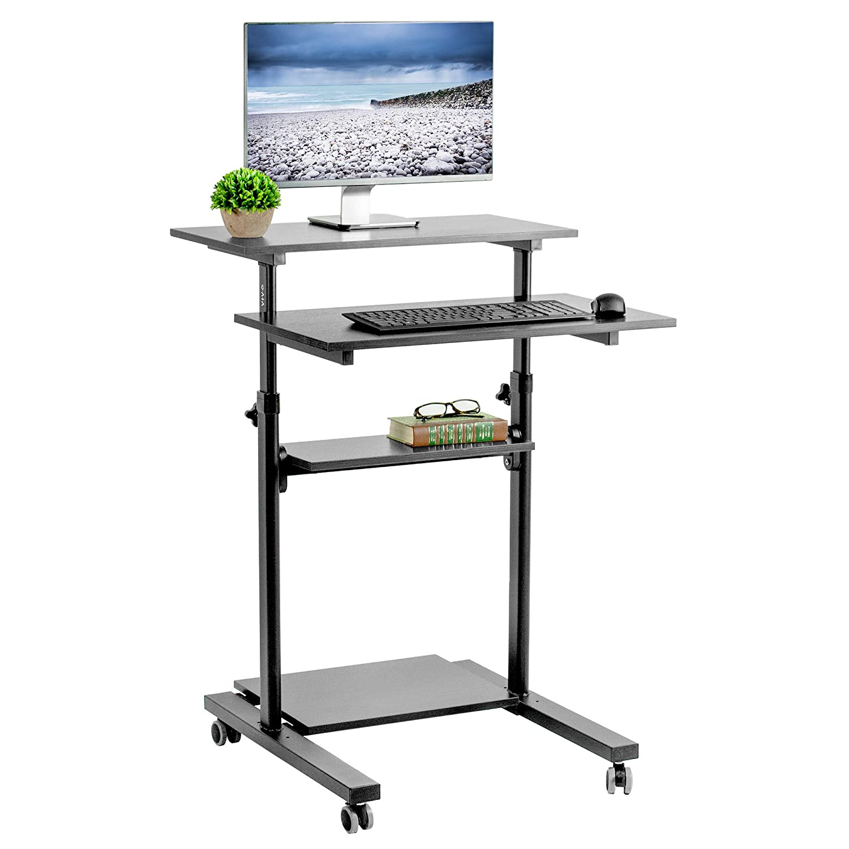 VIVO Black Mobile Height Adjustable Table Stand Up Desk with Storage, Computer Workstation Rolling Presentation Cart CART-V02DB