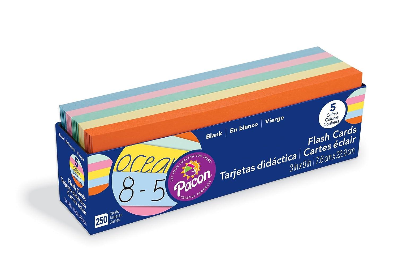 Pacon - Tarjetas flash en blanco, 7,62 x 22,86 cm, paquete de 250: Amazon.es: Amazon.es