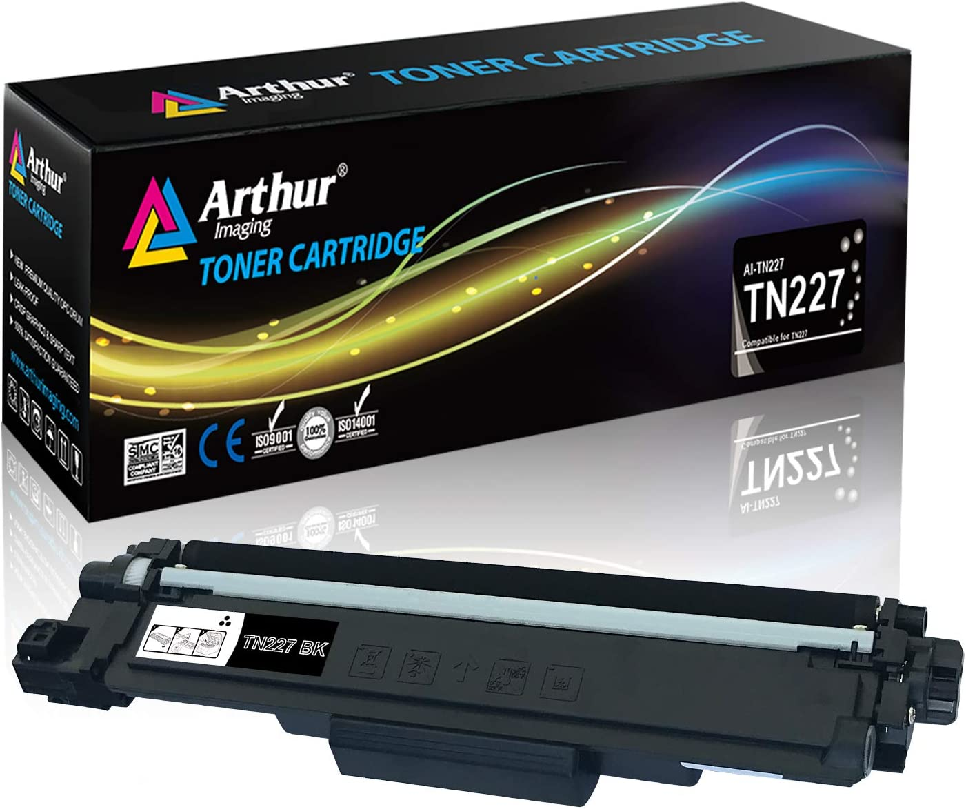 Arthur Imaging with CHIP Compatible Toner Cartridge Replacement for Brother Tn227(Black, 1 Pack) (TN227BK)