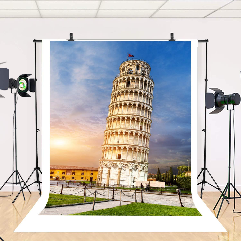 Architectural Landscape Backdrop For Italy Landmark 5X7ft Dusk Leaning Tower of Pisa Studio Photography Background Blue Sky Backdrop EY003