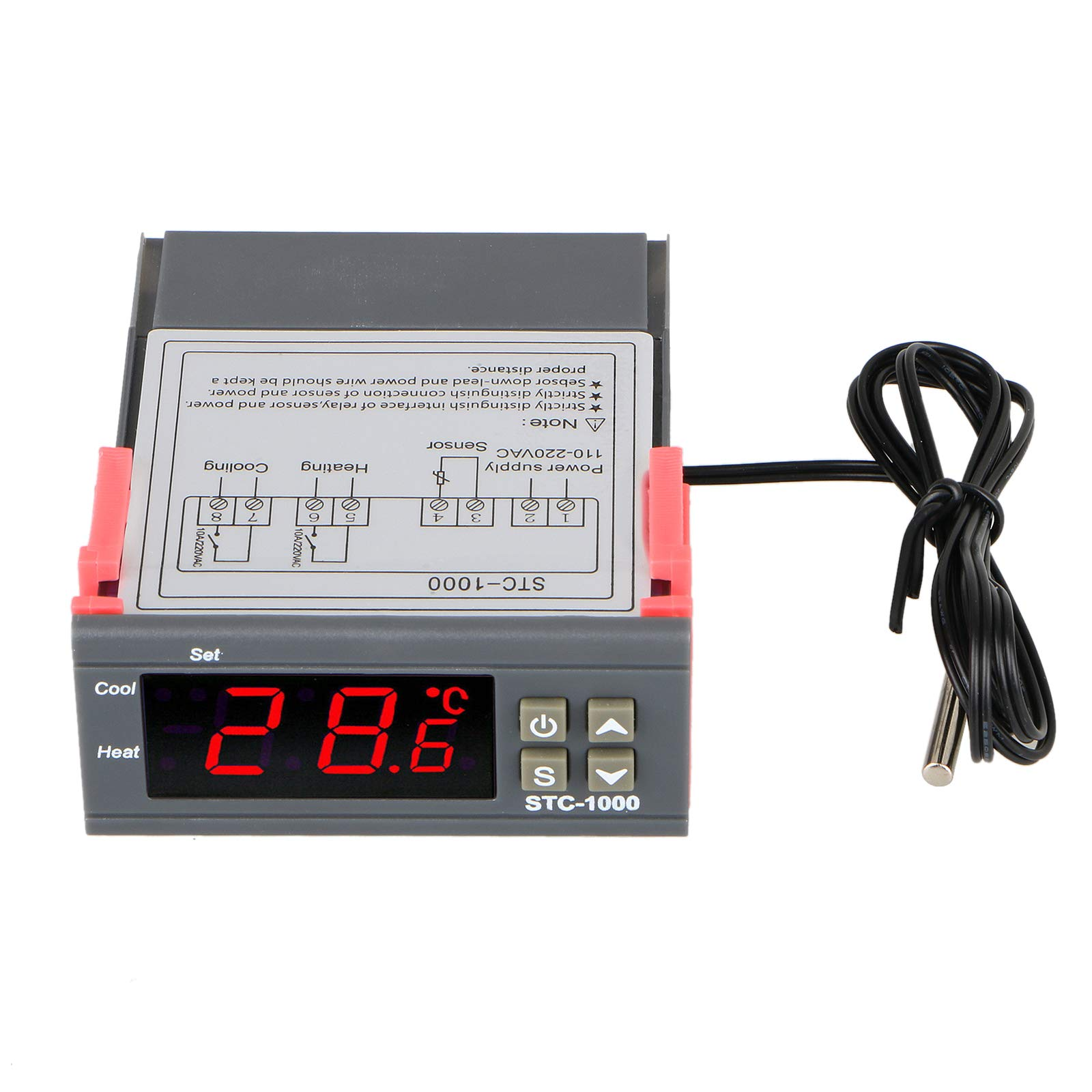 Digital Temperature Controller for Freezer, EEEKit STC-1000 PID Thermostat Meter with NTC Sensor Temperature Probe Cooling Heating 2 Relays Output