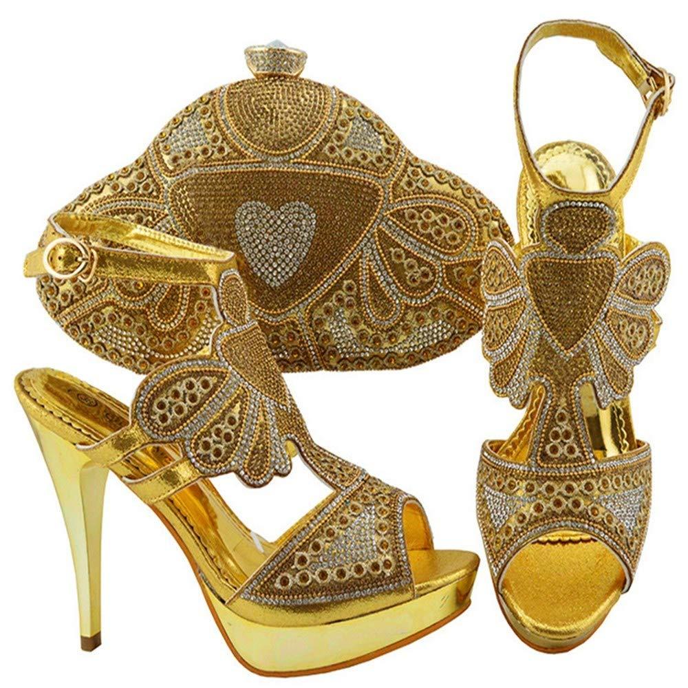 gold HUALI Green color Elegant High Heel African Women shoes Bag Set with Stones Heel 11.5cm