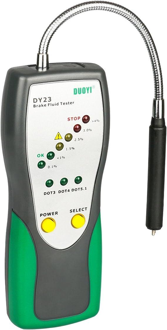 Mrcartool Bremsflüssigkeit Tester Auto Bremsen Kalibriert Flüssigkeit Feuchtigkeit Wasser Test Werkzeug Goose Neck Detektor Sound Und Licht Doppel Alarm Für Dot3 Dot4 Dot5 Moisture Water Test Auto