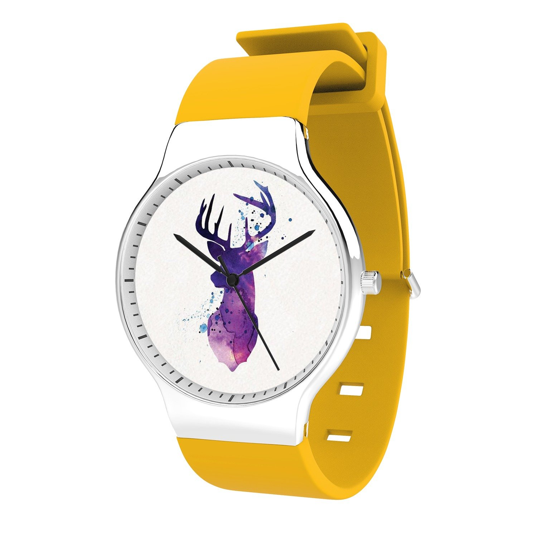 FELOOWSE Animal Watches Deer Watches Men's Quartz Watches, Minimalist Slim Japanese Quartz Youth Silicone Watches, Fashion PracticalWaterproof Boys Watch Customized Watches