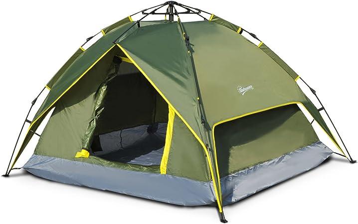 Voile dombrage 5-6 pers Tente de Camping - Fibre Verre Polyester Bleu Outsunny Tente pour Voiture auvent /étanche Pliable Portable
