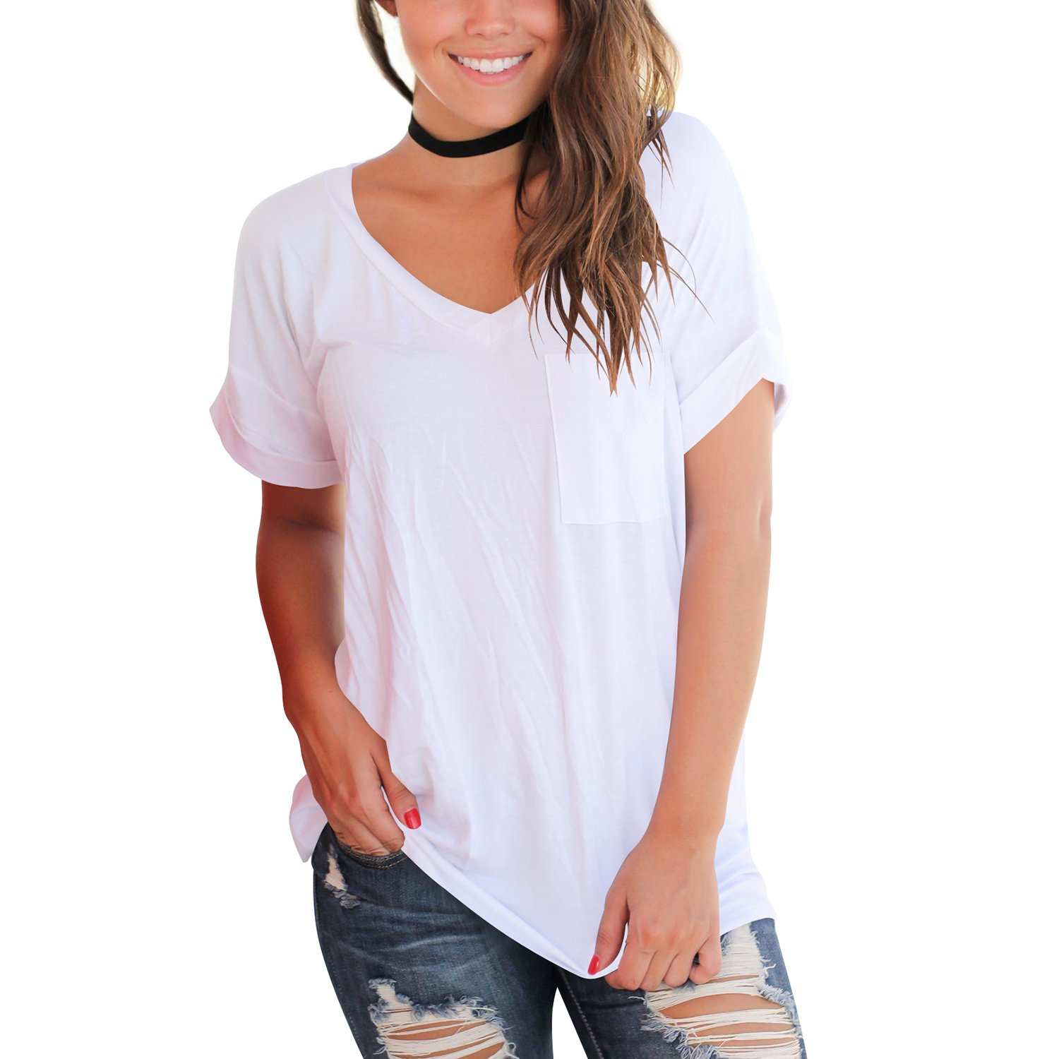 YS.DAMAI Women's Summer Basic Tee Tops Casual Loose Short Sleeve T Shirt with Front Pocket (Large, White)