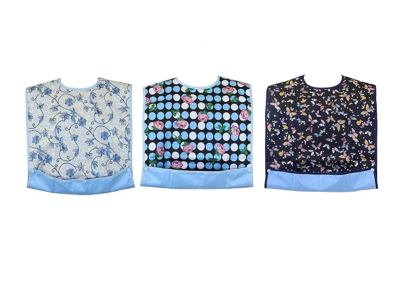 JustCare Adultos Babero Pantalla Posterior Impermeable y Opcional con recogedor de Migas 3/Pack