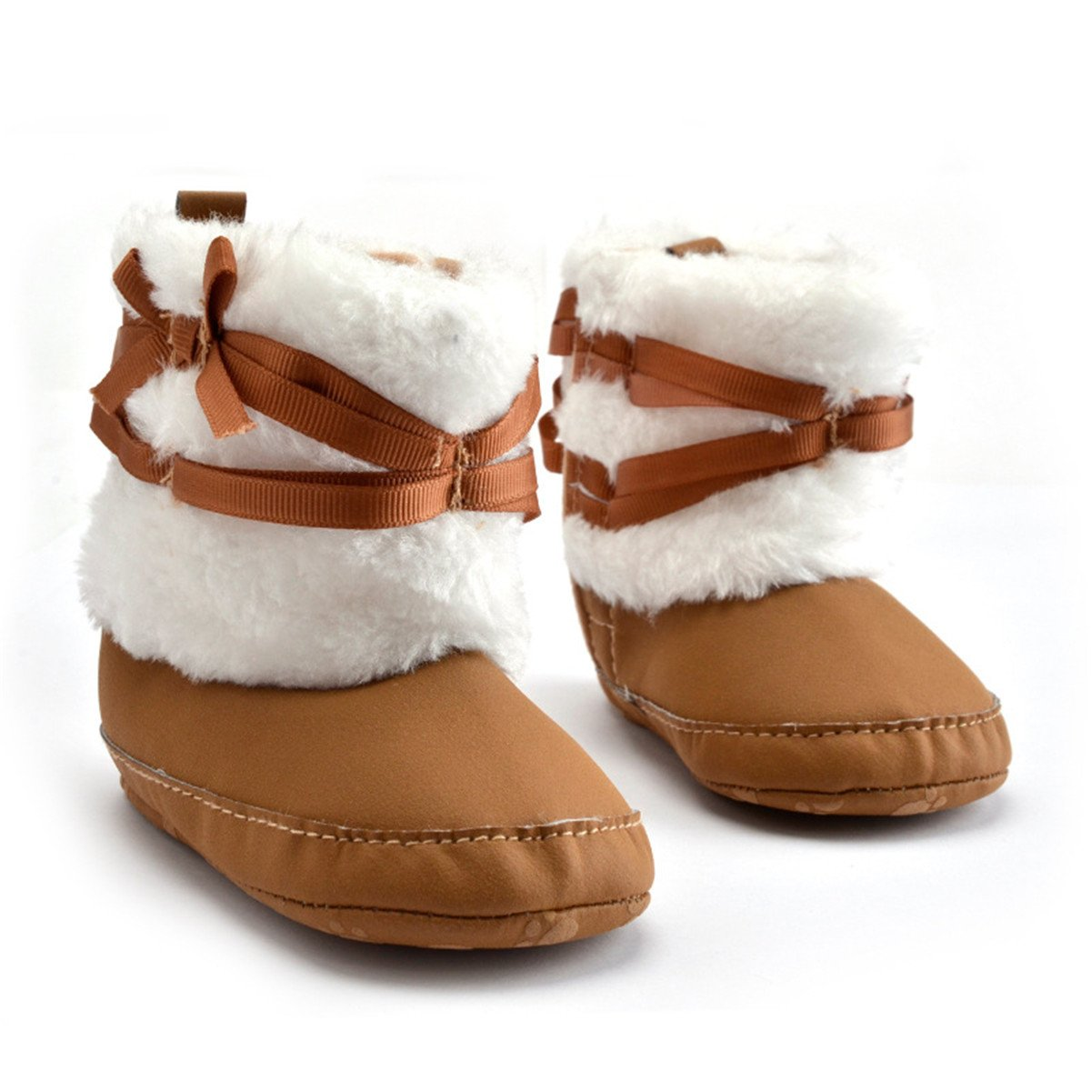 Baby Boys Girls Soft Sole Winter Warm Snow Boot Bow Knot Shoes Cotton Booties