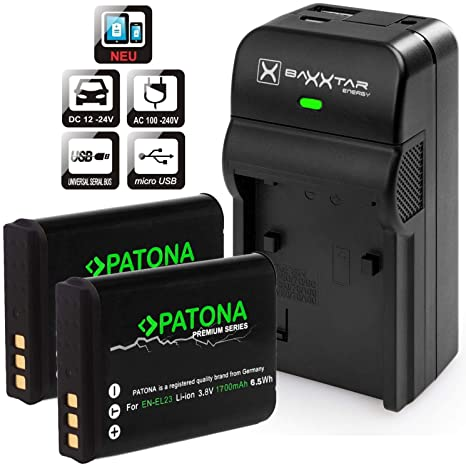 Baxxtar RAZER 600 Cargador 5 en 1 + 2 x PATONA Premium batería para Nikon EN-EL23 (1700 mAh) – -para Nikon Coolpix B700 P900 P600 P610 S810 C – de ...