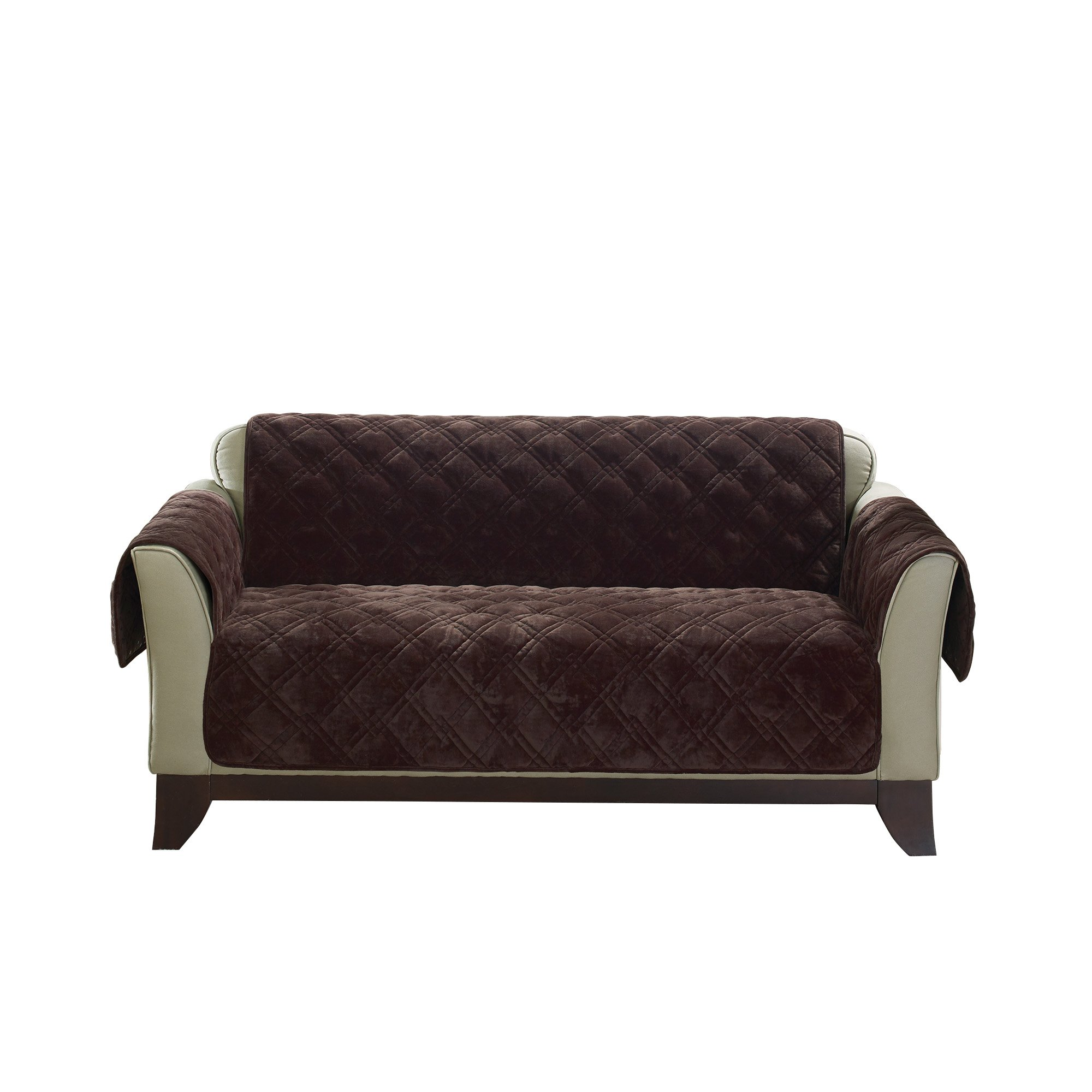 Sure Fit Plush Comfort Furniture Protector with Non Slip Backing, Loveseat, Chocolate by Surefit