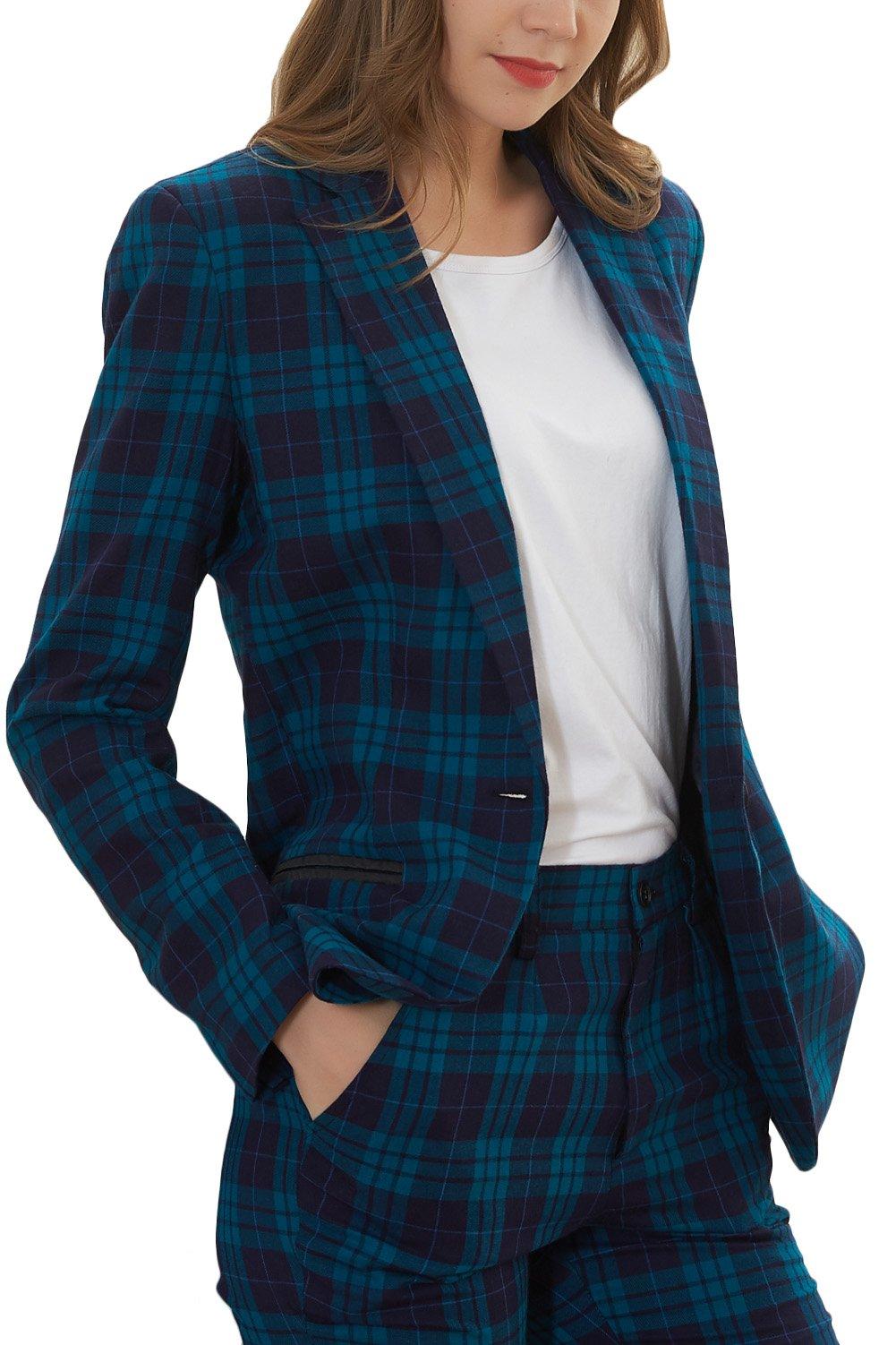 Hanayome Women's Suit Business Lattice One Button 2 Pcs Blazer Coat Separate Pants MI7 (Blue, 18W)