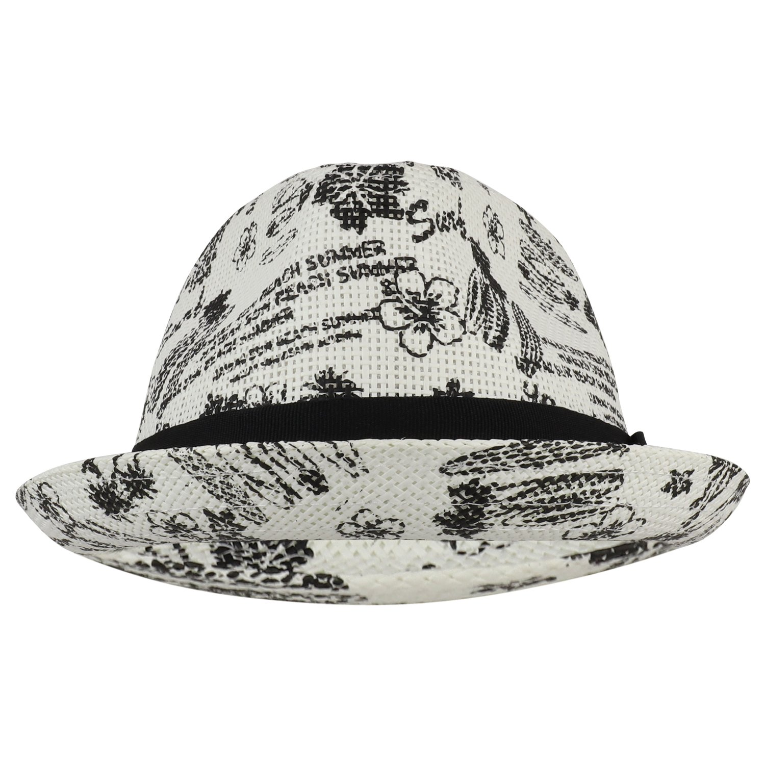 Trendy Apparel Shop Tropical Beach Printed Straw Fedora Hat