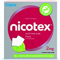 Cipla Nicotex Nicotine Gum - 2 mg (9x10 Pieces, Paan)