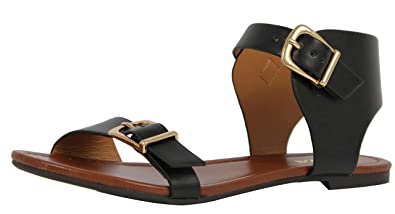 07b8b31b0e96 SODA Women s Klim Faux Leather Wide Strap Buckle Closure Ankle Strap Flat  Sandals (7.5 M