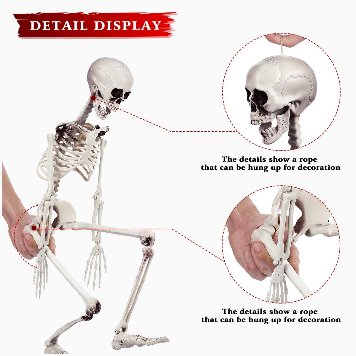 Halloween Skeleton Decorations 35 Inches Posable Full Body Skeleton for Halloween Decoration Party Supplies Decor