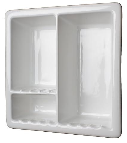 Delicieux Amazon.com: 3 Section Tile Recessed Ceramic Shower Niche Shelf Gloss White  Shampoo: Home U0026 Kitchen
