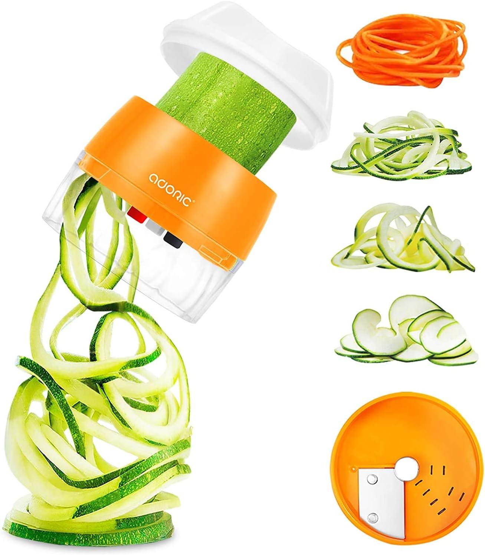 Adoric Cortador de Verdura 4 en 1 Rallador de Verduras Calabacin Pasta Espiralizador Vegetal Veggetti Slicer Pepino, Espaguetis de Calabacin, Cortador Espiral Manual (Naranja)