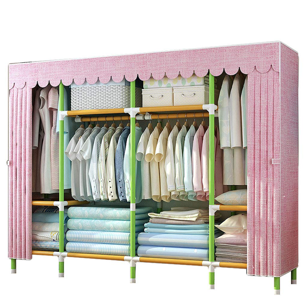 A Simple wardrobe Simple wardrobe 210  45  170cm Steel Tube Oxford Cloth Thickened Assembly Wardrobe (color   D)