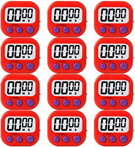 12 Pack Red Small Digital Kitchen Timer Magnetic Back And ON/OFF Switch,Minute Second Count Up Countdown
