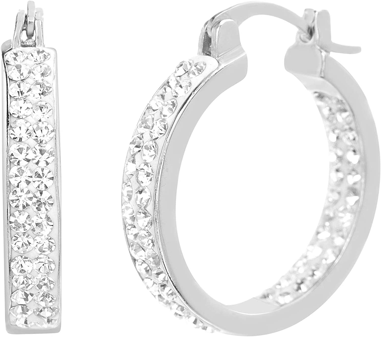 Devin Rose Sterling Silver Sparkly Hoop Earrings for Women made with Swarovski Crystals Inside Outside