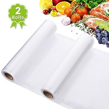 Godmorn Rollos Envasado Vacío,2Packs 28x300cm Bolsas Profesional Gofradas para la Conservación de Alimentos,Sous Vide Cocina,Libre de BPA