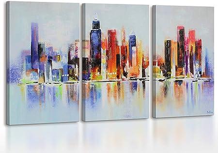 YS-Art Tableau peinture acrylique Manhattan