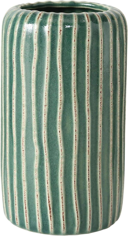 Maison Mobilier D/écoration Accessoires Int/érieurs Ornement Ensemble de 2 Vases avec Surface Ondul/ée G/éom/étrique en Terre Cuite Vert Hauteur 15 cm /Ø 8,5 cm