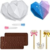 Diamond Heart Silicone Mold, Heart Molds for Chocolate 9 pcs Love Mousse Cake 3D Baking Pan Set with Wood Hammers Letter Numb