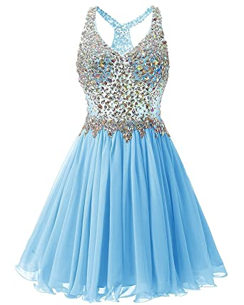 WiWiBridal 2017 Short Two Piece Halter Beading Homecoming Dress Prom Gowns w022