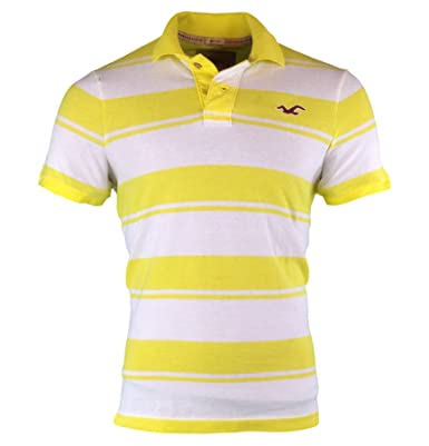 073cbcc8 Hollister Men's Striped Muscle Fit Polo Shirt Tee, Size L, Yellow  (602074867)