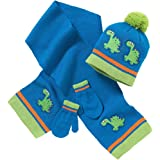 Hats, Hats, Hats Younger Boys Knitted Dinosaur Bobble Hat Scarf and Mitts Set 2-6 Years