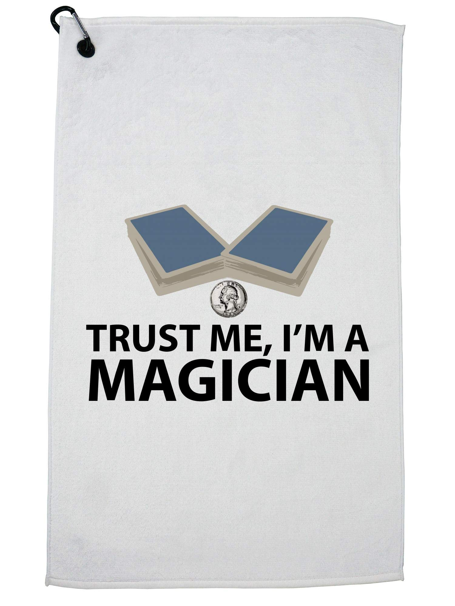 Hollywood Thread Trust Me! I'm a Magician - Magic Cards & Coin Tricks Golf Towel with Carabiner Clip