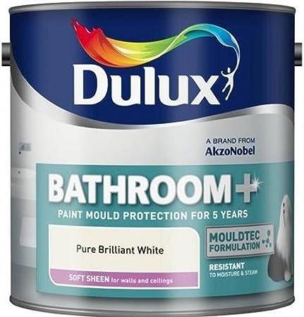 Dulux Paints Litre Bathroom Plus Soft Sheen Brilliant White - Antifungal paint for bathroom
