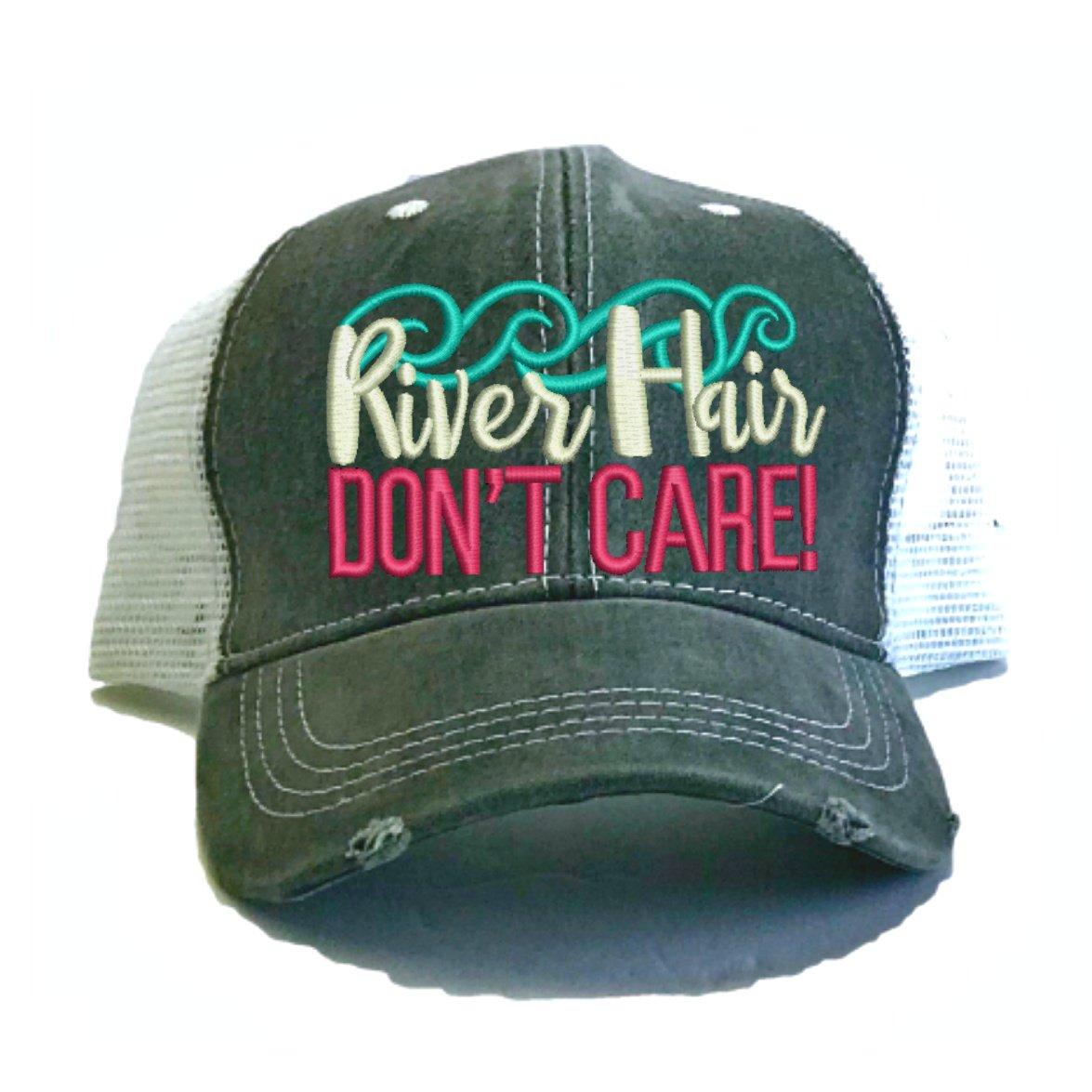 Women's Custom Trucker Hat River Hair Don't Care Funny Summer Distressed Baseball Cap