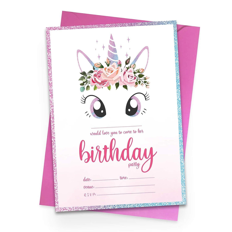 10 unicornio tema invitaciones para fiesta de cumpleaños ...