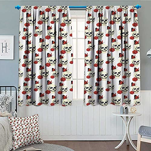 SeptSonne Skulls Decorations Thermal Room Darkening Window Curtains Pattern with Skull Roses Butterflies Flowers Floral Design Decor Curtains by 72 x63