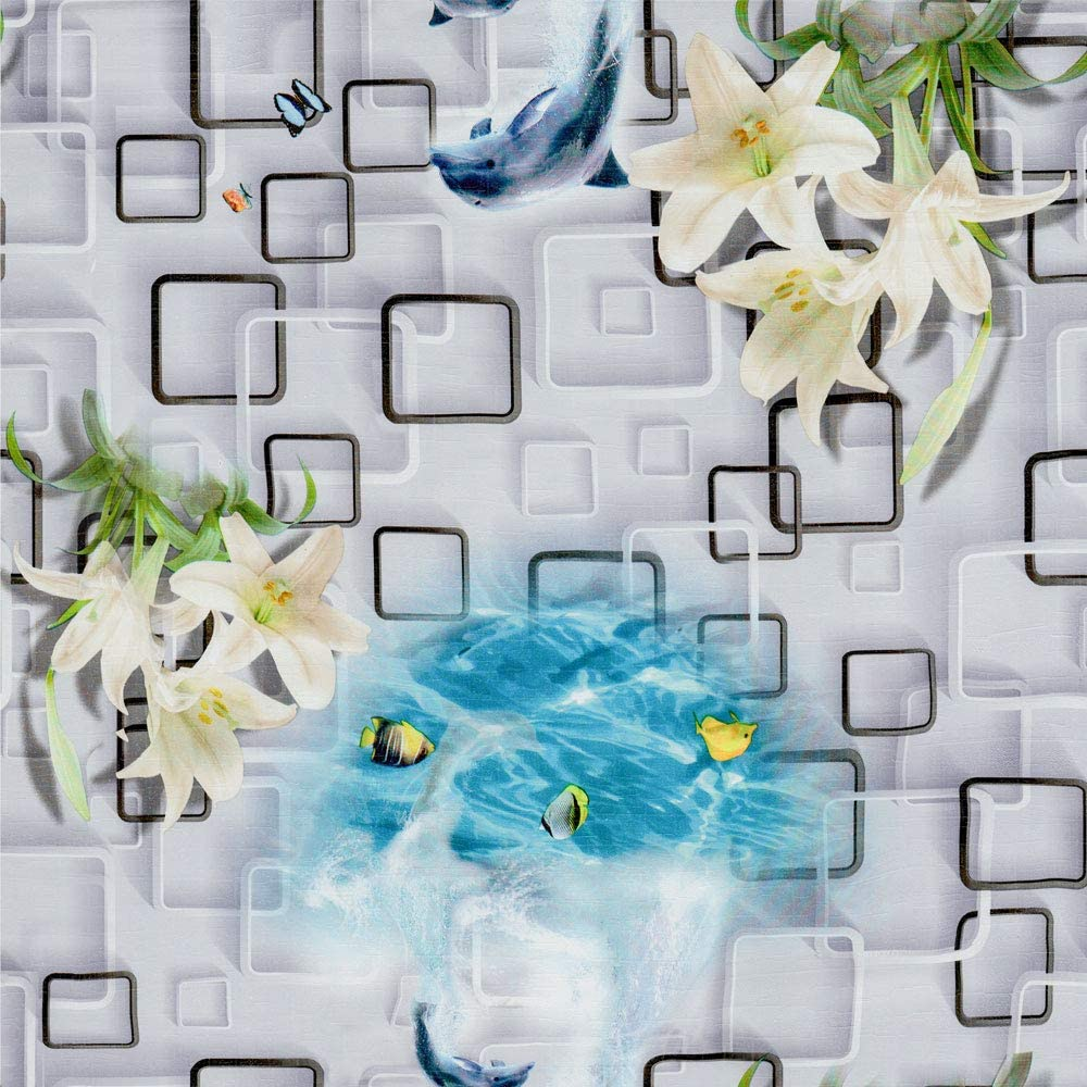 Self-Adhesive Wallpaper Paper for Wall Modern Vinyl Wallpaper Peel & Stick Wallpaper Art Design Square Ocean Narcissus Shark Stitching Wallpaper Shelf Paper for Wall Decal