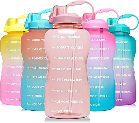 Venture Pal Large 1 Gallon/128 OZ (When Full) Motivational BPA Free Leakproof Water Bottle with Straw & Time Marker Perfect for Fitness Gym Camping Outdoor Sports